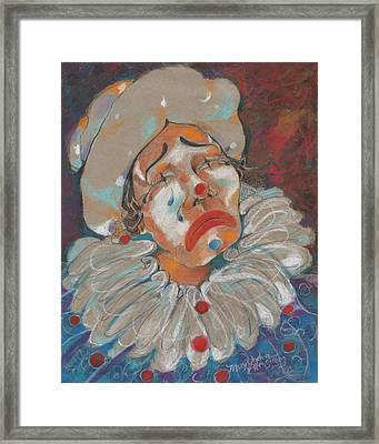 A Clown Face Framed Print by Mary Armstrong