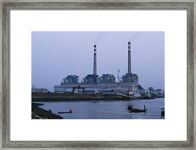 A Coal Burning Power Plant That Uses Framed Print by Justin Guariglia
