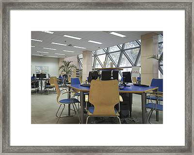 A College Library. Modern Architecture Framed Print by Guang Ho Zhu