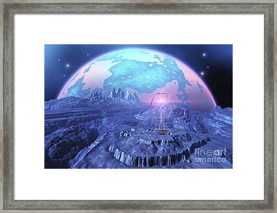 A Colony On An Alien Moon Framed Print by Corey Ford