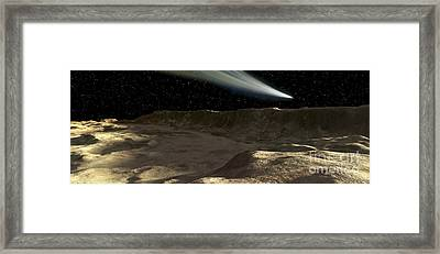 A Comet Passes Over The Surface Framed Print