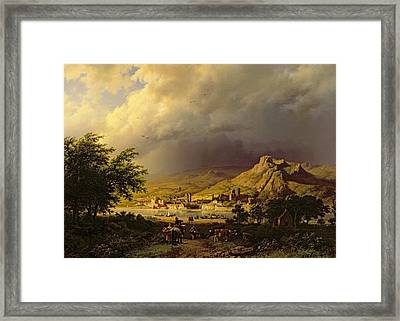 A Coming Storm Framed Print by Barend Cornelis Koekkoek