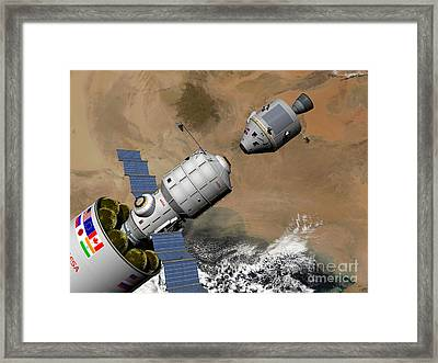 A Command Module Prepares To Dock Framed Print by Walter Myers
