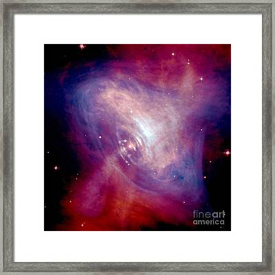 A Composite Image Of The Crab Nebula Framed Print by Stocktrek Images