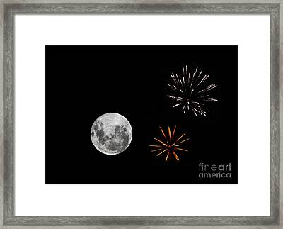 A Composite Image With Fireworks Framed Print by Luis Argerich