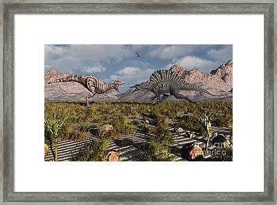 A Confrontation Between A T. Rex Framed Print by Mark Stevenson