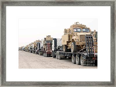 A Convoy Of Mine-resistant Ambush Framed Print by Stocktrek Images