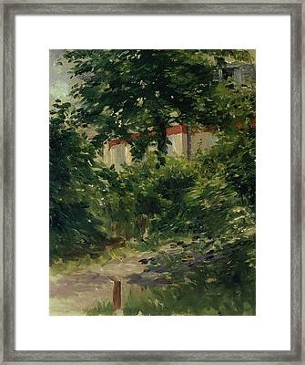 A Corner Of The Garden In Rueil Framed Print by Edouard Manet