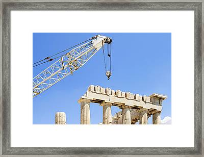 A Crane At The Unesco World Heritage Framed Print by Corepics