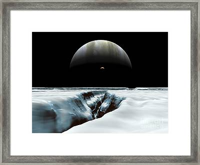 A Crescent Jupiter And Volcanic Framed Print by Walter Myers