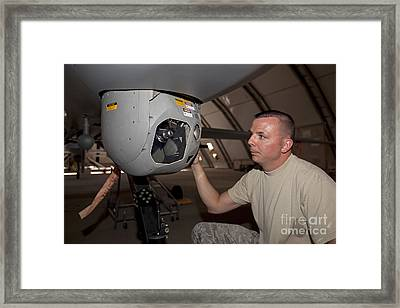 A Crew Chief Works On Mq-1 Predators Framed Print by HIGH-G Productions
