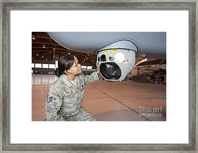 A Crew Chief Works On Mq-9 Reapers Framed Print by HIGH-G Productions