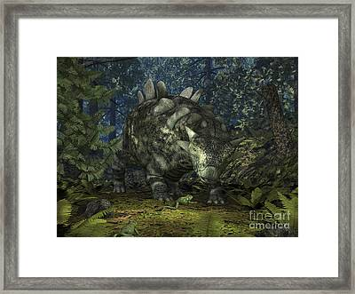 A Crichtonsaurus Crosses Paths Framed Print by Walter Myers