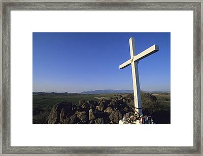 A Cross On A Hill Near The San Xavier Framed Print by Rich Reid