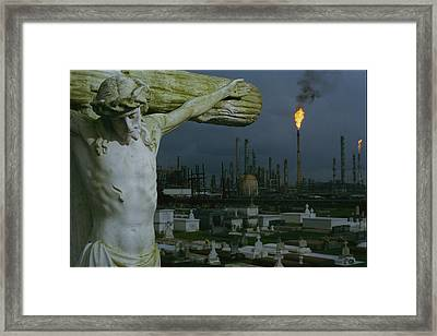 A Crucifixion Statue In Holy Rosary Framed Print by Joel Sartore