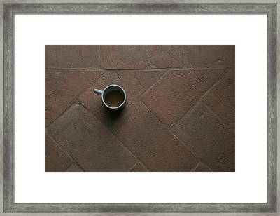 A Cup Of Coffee Sits On A Tuscan Villa Framed Print