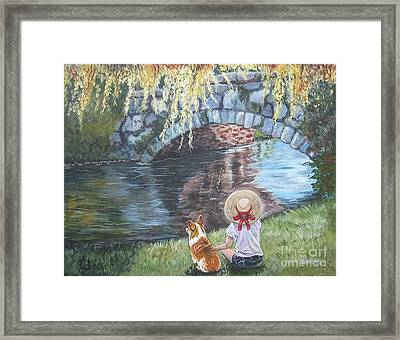 A Day By The Stone Bridge Framed Print by Ann Becker