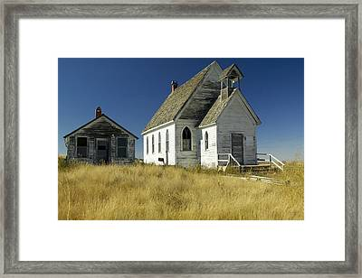 A Derelict Old Church Sits In An Framed Print by Pete Ryan