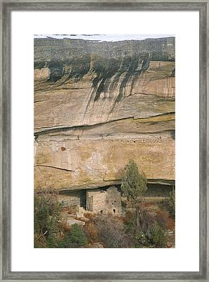 A Detail Of The Cliff Dwelling Ruins Framed Print by Rich Reid