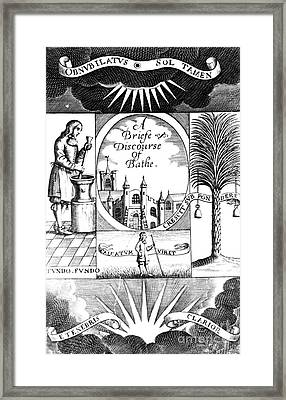 A Discourse Of Bathe, Balneology, 1676 Framed Print by Science Source