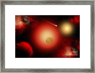 A Distant Binary Star System Located Framed Print by Mark Stevenson