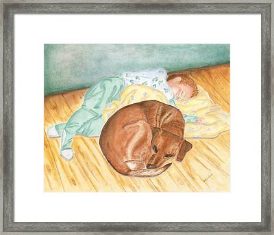 Framed Print featuring the painting A Dog And Her Boy by Arlene Crafton