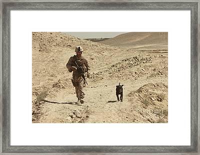 A Dog Handler Walks With An Explosives Framed Print