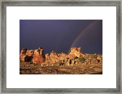 A Double Rainbow After A Storm Over An Framed Print by Ira Block