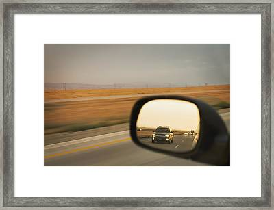 A Drivers View Of The Car Framed Print by Alan Majchrowicz