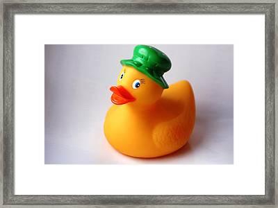 A Duck With Green Hat Framed Print by Juan  Cruz
