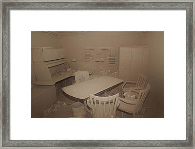 A Dust Covered Office In Building Framed Print by Everett