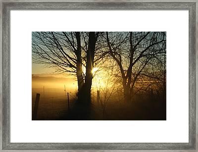 A Dusty Sunset Framed Print by Shane Bechler