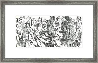 A Face - Sketch Framed Print by Robert Meszaros and Nick Ellena