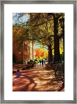 A Fall Day On Campus Framed Print by Bob Whitt