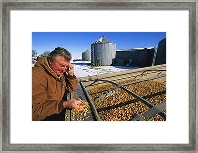 A Farmer Runs His Corn Through His Hand Framed Print by Joel Sartore