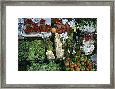A Farmers Market Selling Vegetables Framed Print