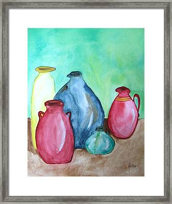 Framed Print featuring the painting A Few Good Pitchers by Alethea McKee