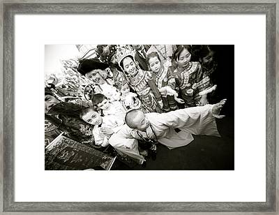 A Fight Brewing Framed Print by Jez C Self