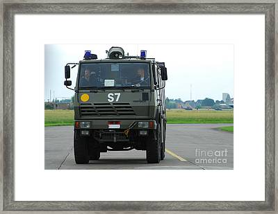 A Fire Engine Based At The Air Force Framed Print