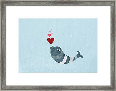 A Fish Blowing Love Heart Bubbles Framed Print