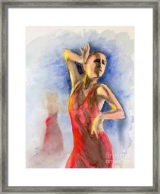 Framed Print featuring the painting A Flamenco Dancer  2 by Yoshiko Mishina
