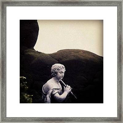 A #flute - #playing #sculpture From Framed Print