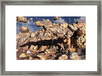 A Fossilized T. Rex Bursts To Life Framed Print