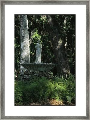 A Fountain Bird Bath On The Saint Framed Print
