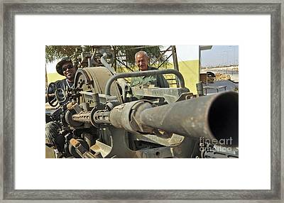A Free Libyan Army Soldier Mans Framed Print by Andrew Chittock