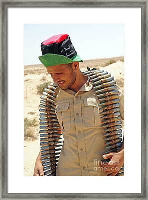 A Free Libyan Army Soldier With An Framed Print by Andrew Chittock