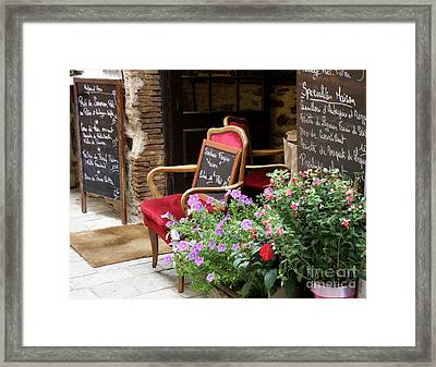 A French Restaurant Greeting Framed Print by Lainie Wrightson