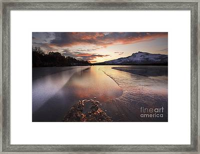 A Frozen Straumen Lake On Tjeldoya Framed Print