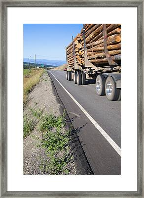 A Full Loaded Logging Truck With Two Framed Print