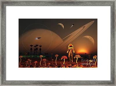 A Futuristic Outpost On The Moon Framed Print by Mark Stevenson